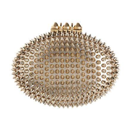 елегантна златиста официална чантчка с шипове