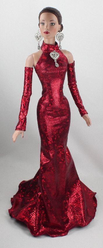 червена официална рокля пайети