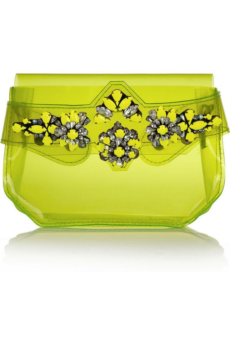 зелена прозрачна  бална чантичка