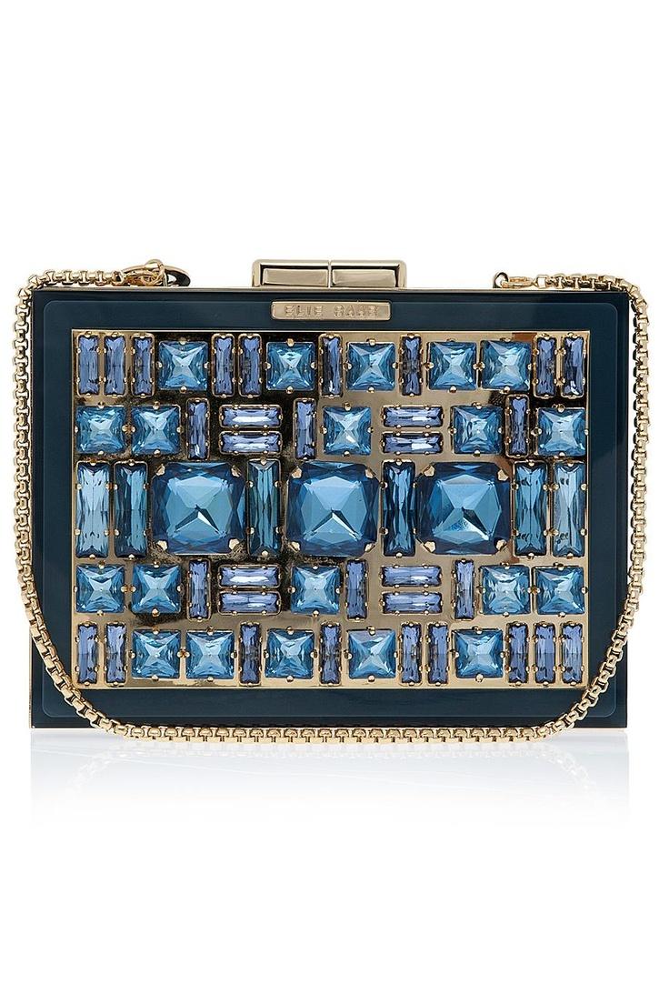 бална чантичка със сини камъни