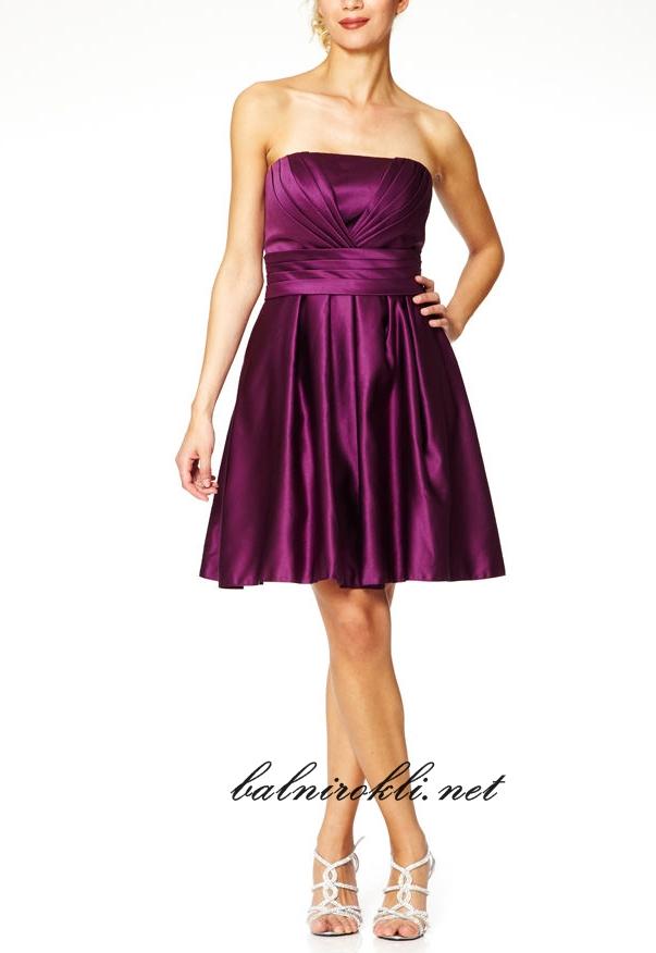 официална къса лилава рокля сатен 2015