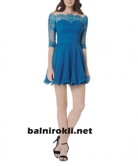 синя дантелена официална къса рокля с ръкав