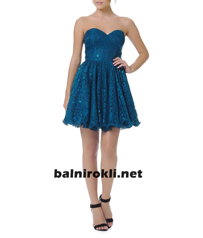 къса синя дантелена рокля за бал 2015