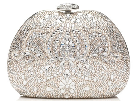 сребриста бална чантичка