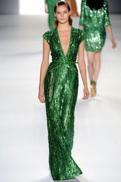 дълга зелена блестяща рокля
