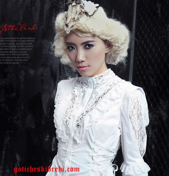 бяла риза с дантела в готик стил