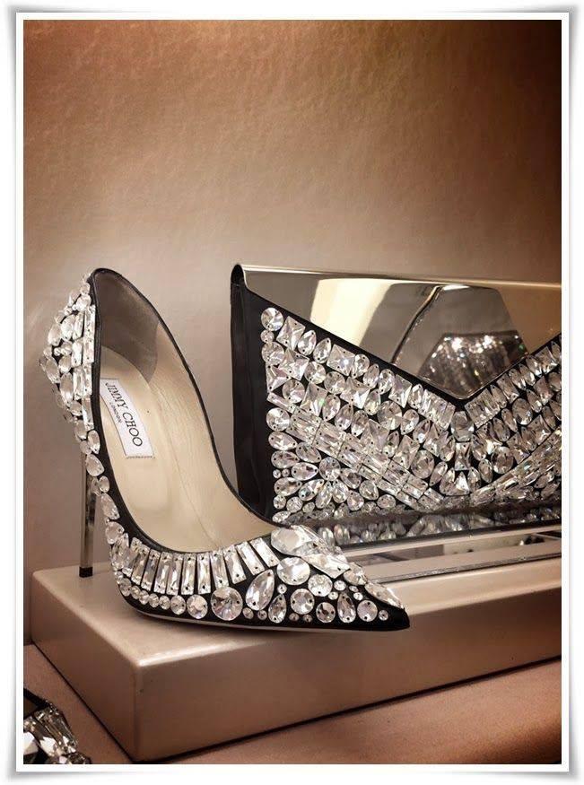 диамантени обувки с чанта