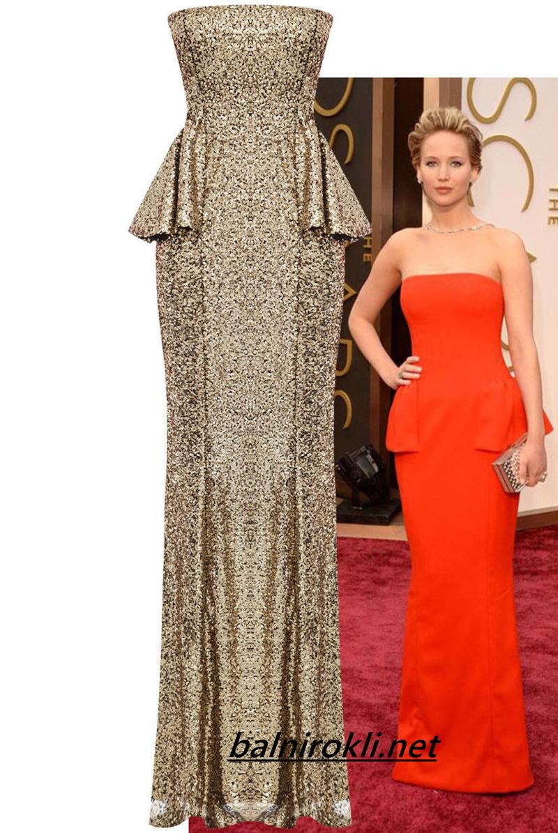 златна блестяща дълга официална рокля