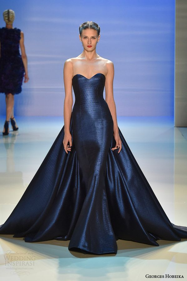 класическа тъмносиня бална рокля