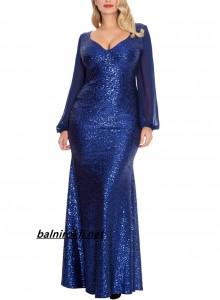 блестяща синя официална рокля с ръкави за едри дами
