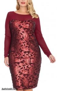 елегантна къса блестяща рокля бордо