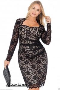 дантелена къса официална рокля за едри дами