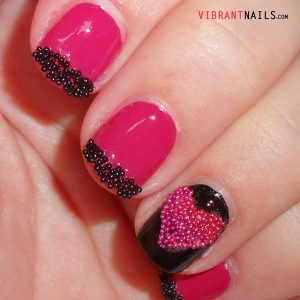 маникюр розово и черно