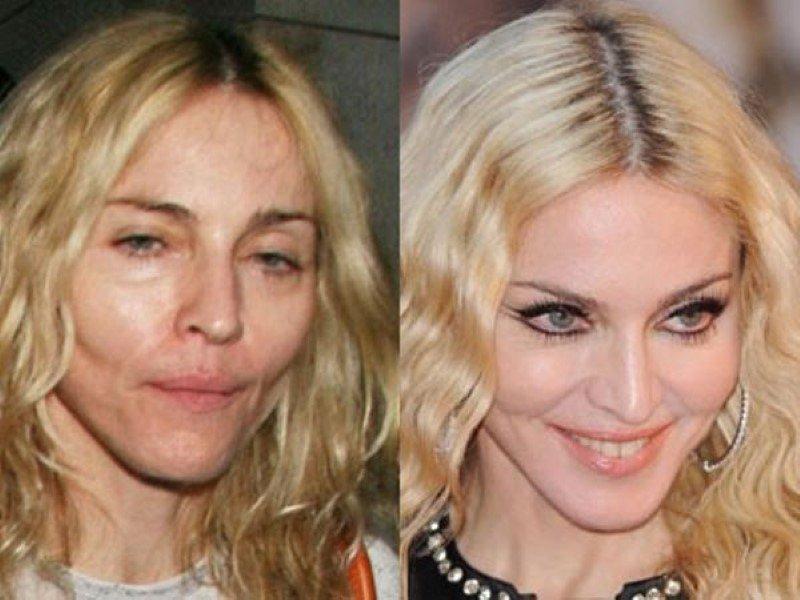 Мадонна с грим и без грим