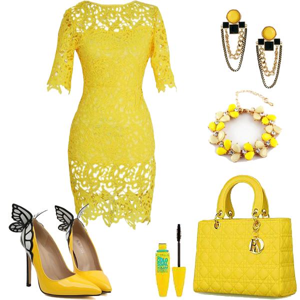 елегантна къса рокля жълта дантела и аксесоари в жълто
