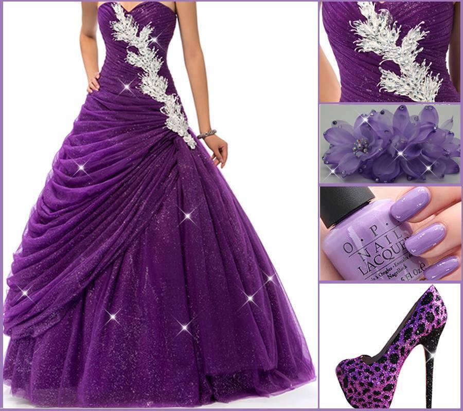 бална рокля в лилаво и сребриста декорация