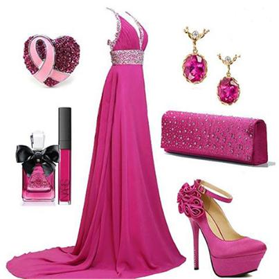 цикламено- розово цикламена рокля и аксесоари