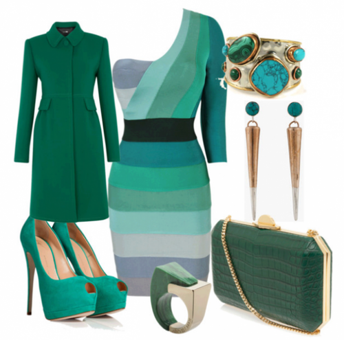 елегантна визия в зелен цвят