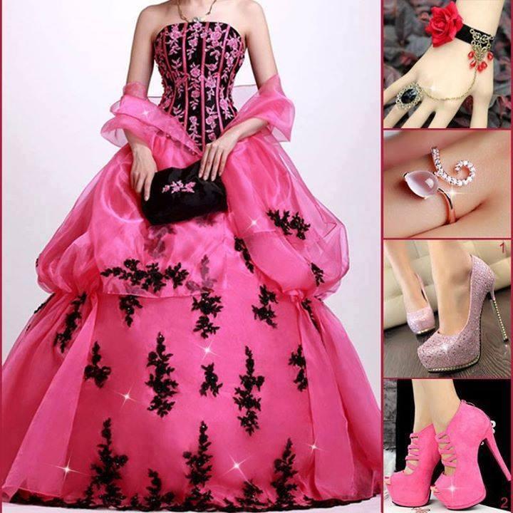 розова бална рокля с черно
