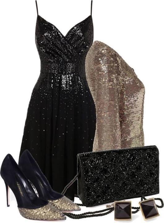 елегантна визия в черно с акцент блестящо сако цвят бронз