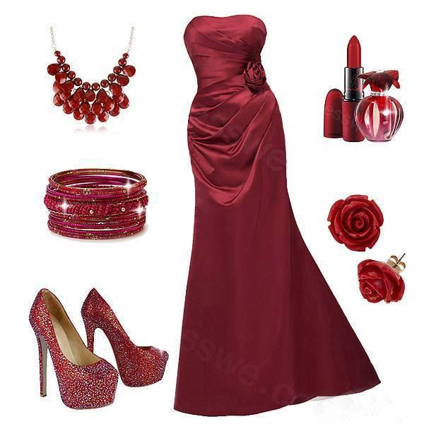 тъмночервена рокля с аксесоари бордо