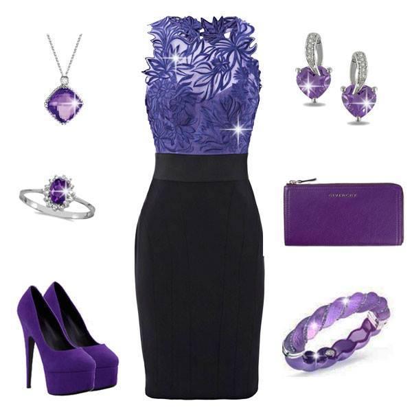 коктелна визия -комбинация-лилаво и черно