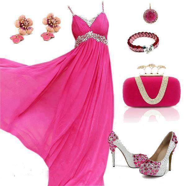 цикламена официална рокля и сребристи декорации