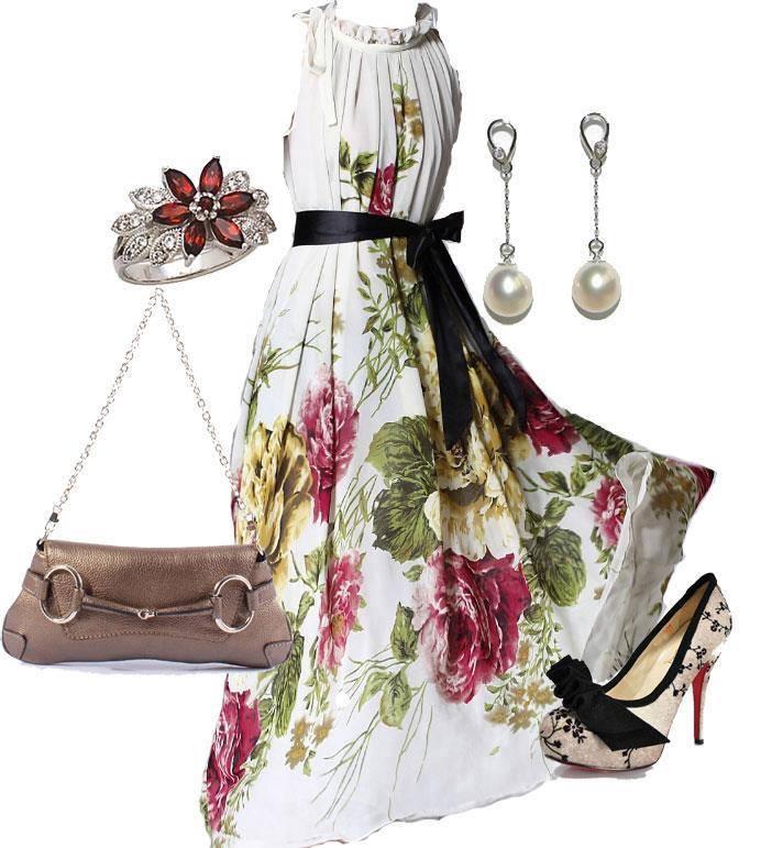 официална визия-рокля с флорални мотиви