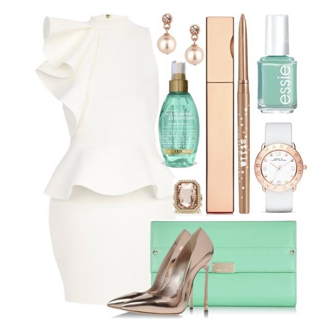 коктейлна визия -къса елегантна рокля в бяло с аксесоари в мента и сребристо