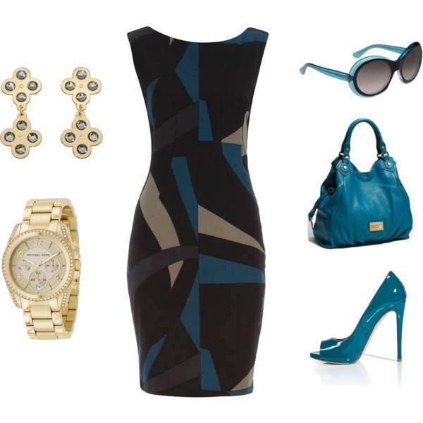 елегантна коктейлна визия- син цвят ,черно и залтно