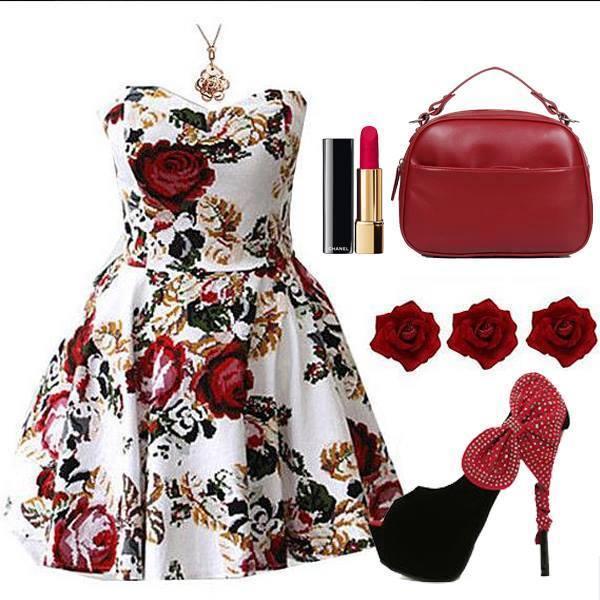 официална рокличка с флорална декорация и аксесоари в бордо
