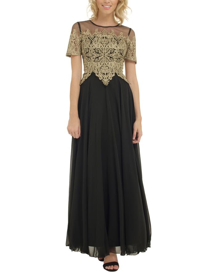 Бална дълга рокля черен шифон и златиста дантела