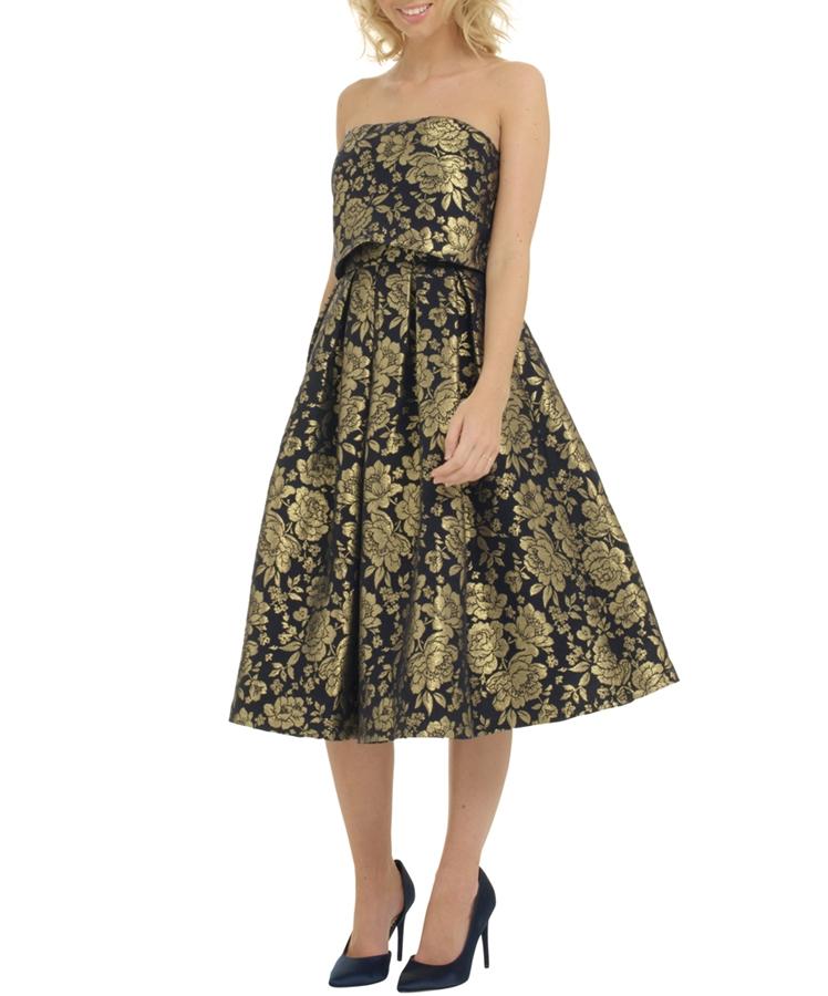 бална къса черна рокля със златно