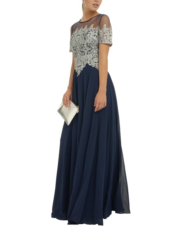 Тъмносиня дълга официална рокля шифон Дантела