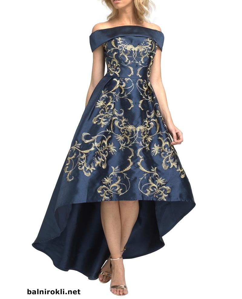 бална тъмносиня асиметрична рокля сатен