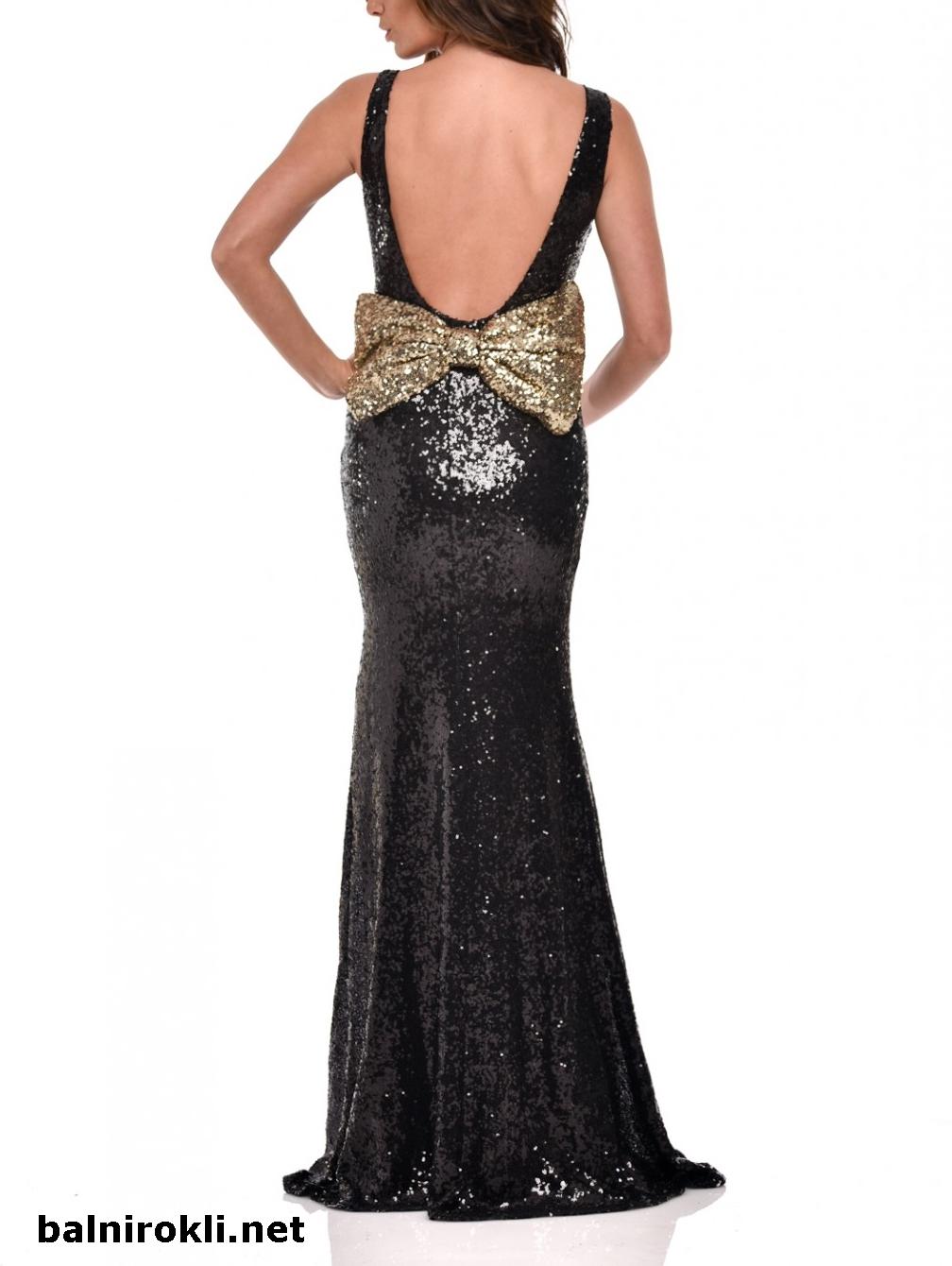 Бална черна блестяща рокля с гол гръб и панделка