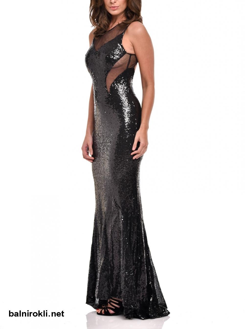блестяща черна дълга рокля супер секси