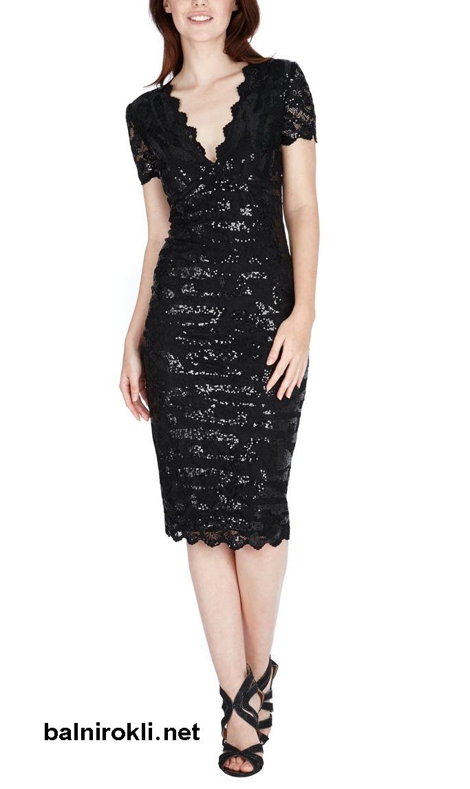 елегантна черна рокля блестяща дантела