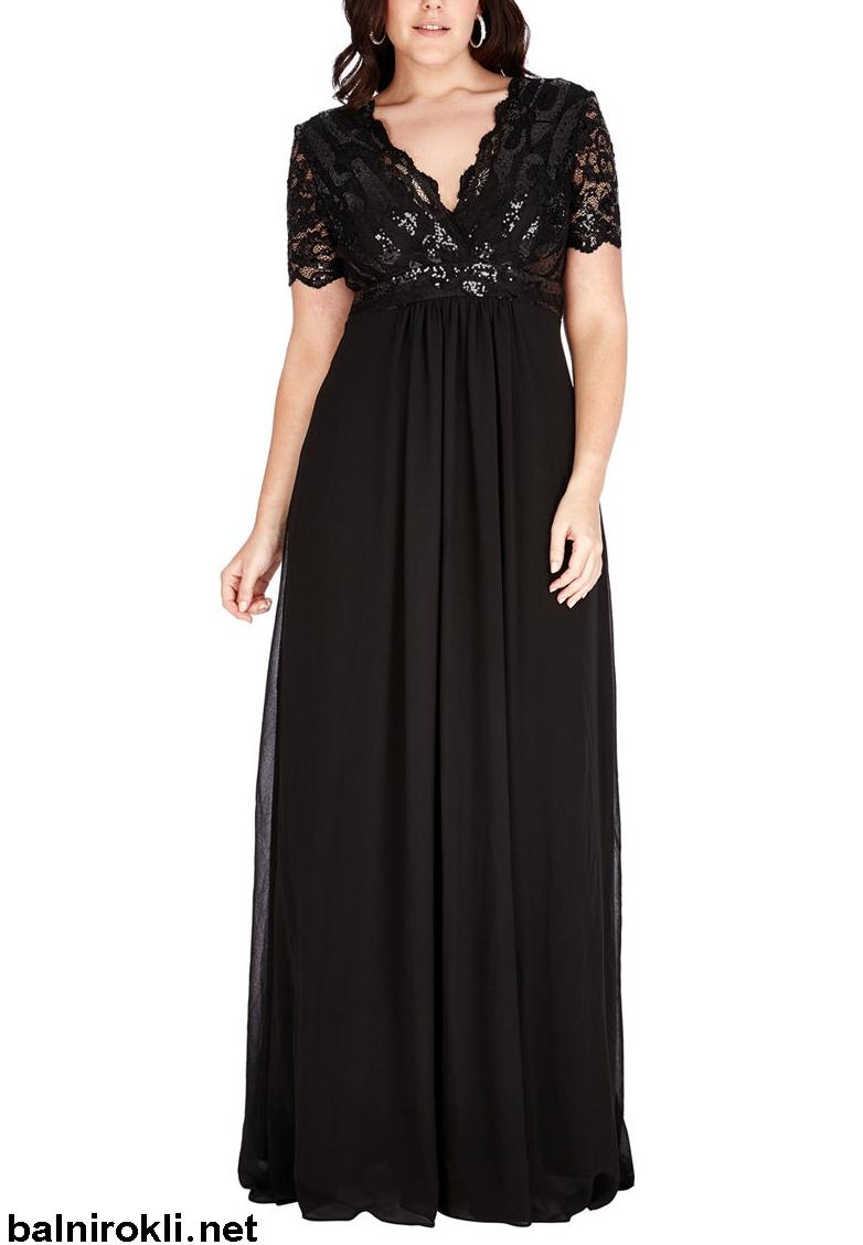 дълга черна рокля макси дами с блестяща дантела