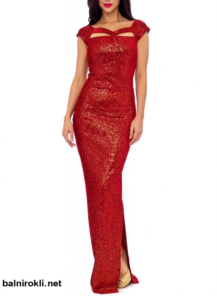 червена дълга белстяща рокля сцепка