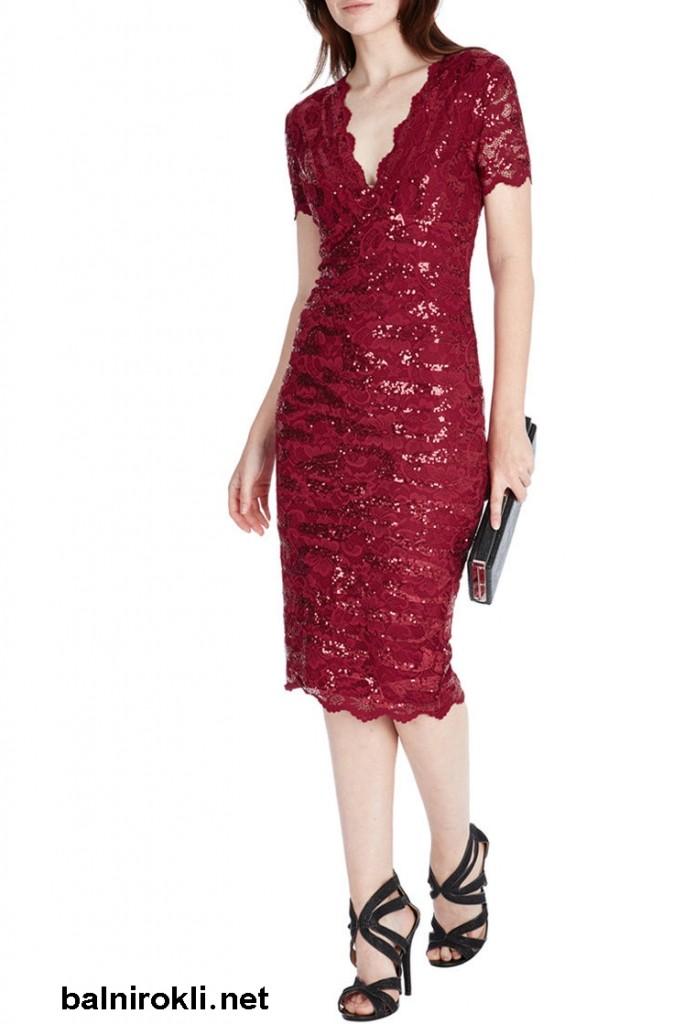 червена къса белстяща рокля дантела