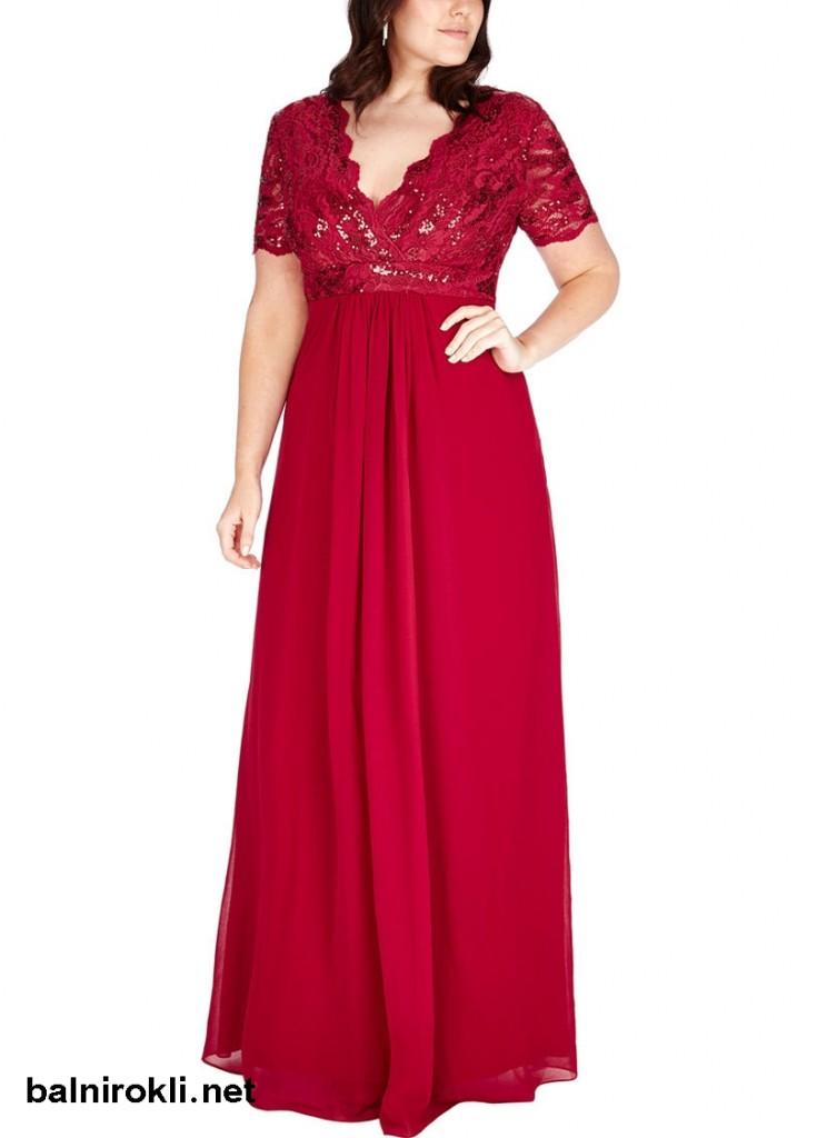 червена дълга блестяща рокля дантела макси дами
