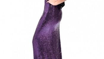 бална лилава дълга блестяща рокля гол гръб