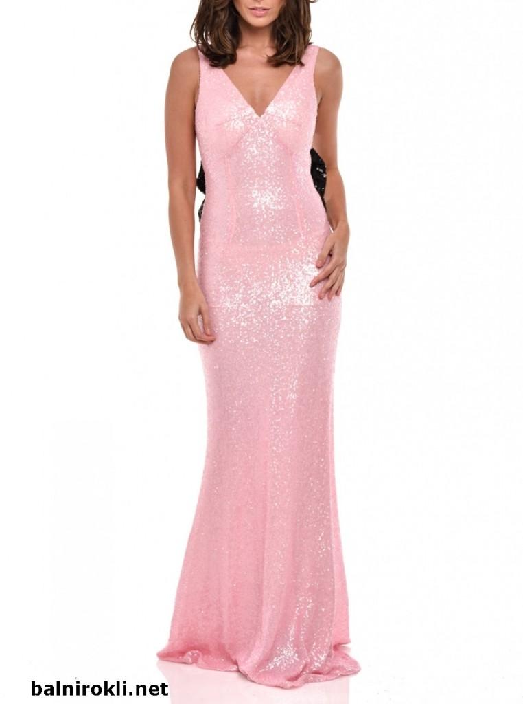 бална розова дълга блестяща рокля гол гръб