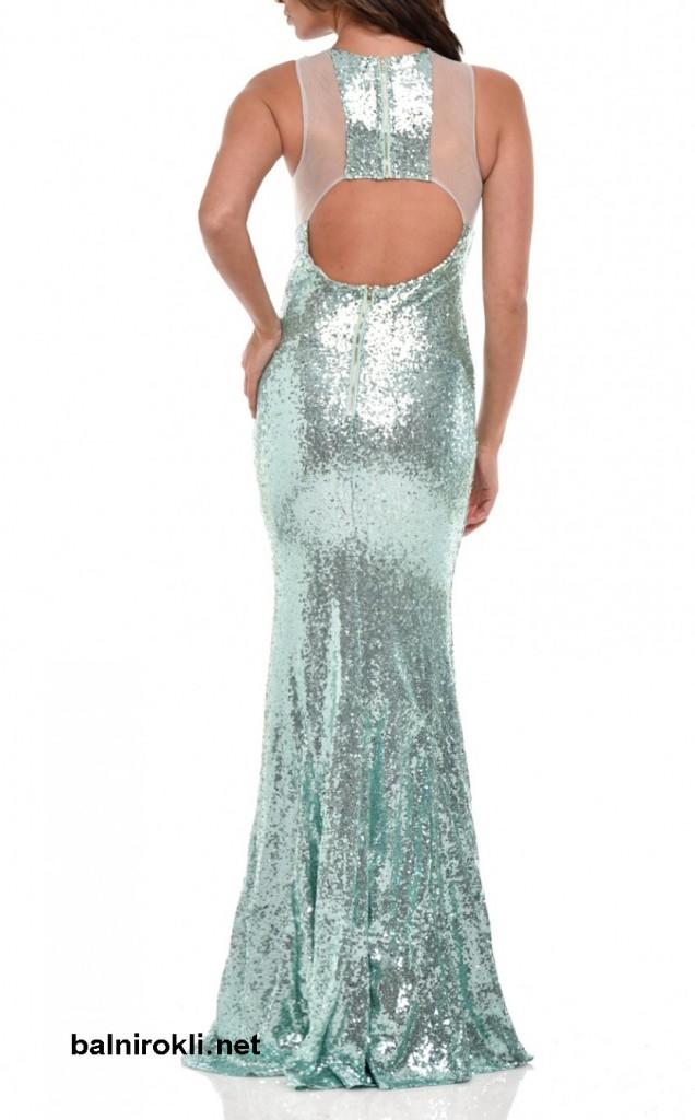 бална дълга блестяща рокля гол гръб ментов цвят