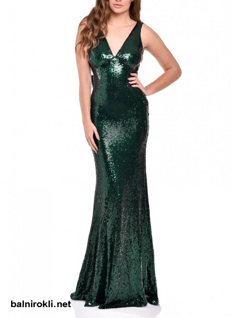 бална блестяща рокля тъмнозелен цвят