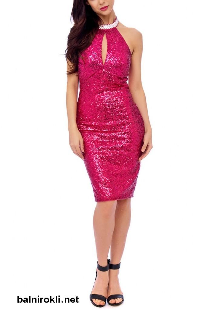 бална блестяща рокля розов цвят