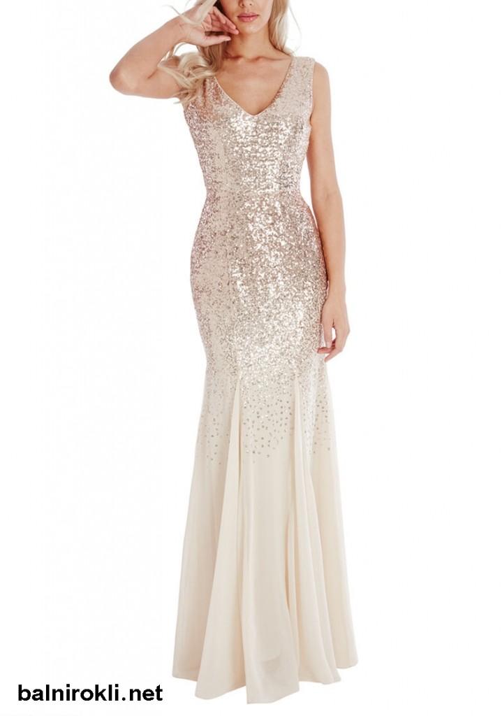 бална блестяща рокля златист цвят