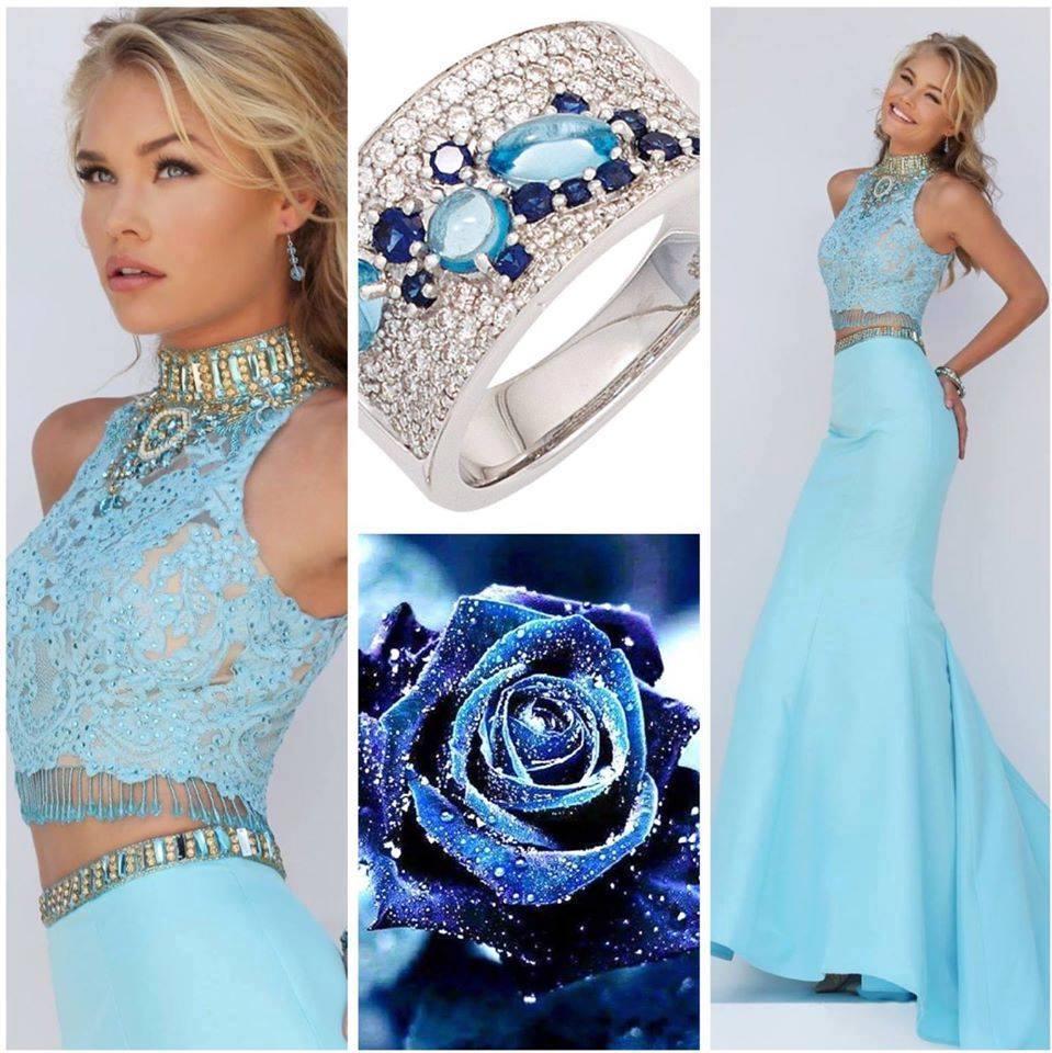 пръстен сини камъни