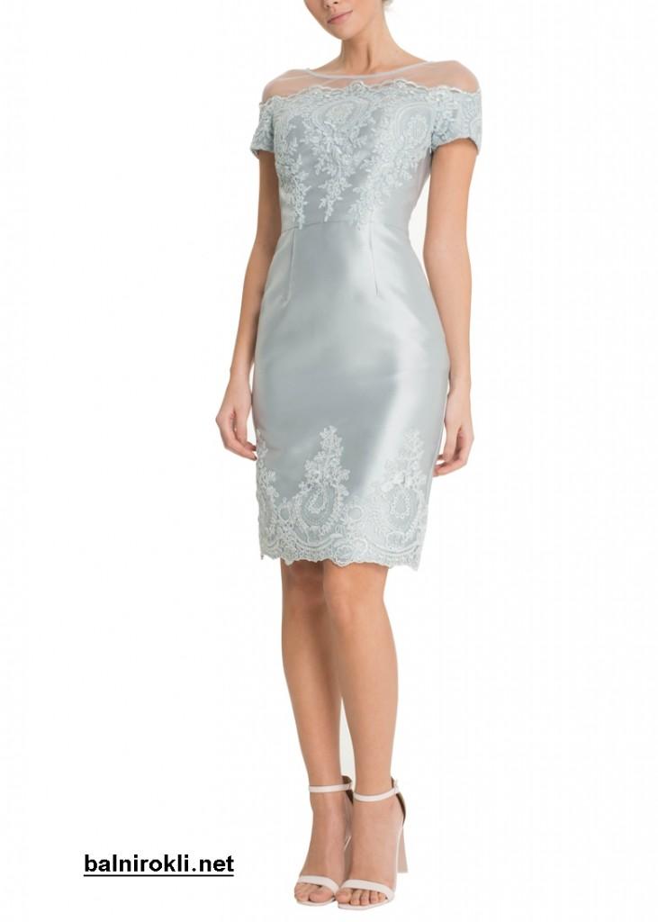 абитуриентска къса бална рокля пастелно син цвят